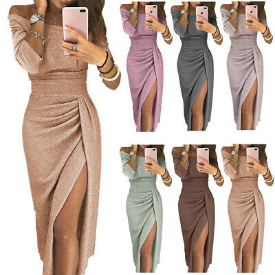 Womens Ladies Off Shoulder Long Sleeve Evening Party Split Long Maxi Prom Dress