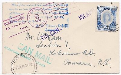 # 1936 Tonga Tin Can Mail Cover - Many Different Cachets - Niuafoou Postmark >Nz