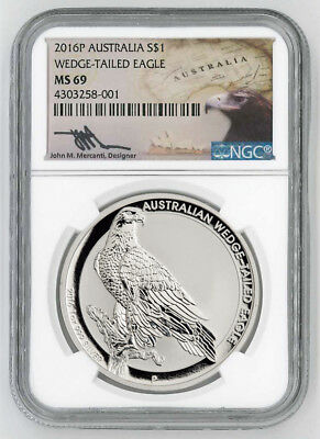 Australien - 1 Dollar 2016 - Wedge-Tailed Eagle - NGC - MS-69 - 1 Oz Silber ST