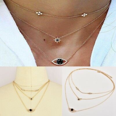 Fashion Evil Eye Necklace Crystal Star Statement Pendant Gold Chain Jewelry Gift