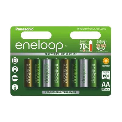 8x Panasonic AA HR06 Eneloop NiMH Rechargeable Batteries BOTANIC SPECIAL EDITION