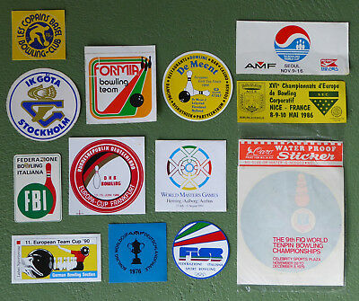 very rare set of 13 original vintage 70ies/80ies BOWLING STICKERS - worldwide