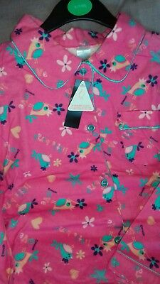 Bnwt Girls Cosy Hot Pink Novelty  Brushed  Cotton Pyjamas Ages 6-7 Years