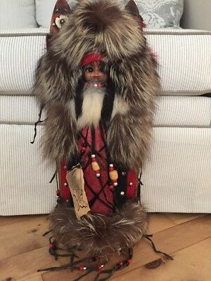 Native American Plains Indian Papoose Cradle Board Doll Fur Wall Hanger