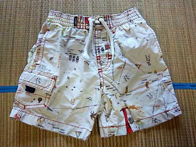 Baby GAP BOYS Swim Trunks Size 12-18 Mo - Tan/Red Print SWIMSUIT for POOL BEACH