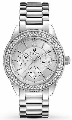 Bulova Multifunction Crystals Silver Dial Silver Tone Women's Watch 96N102