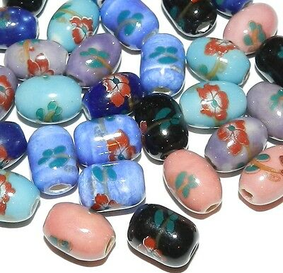 CPC212 Handmade Assorted Multi-Color Porcelain 14mm Oval Barrel Beads 28pc