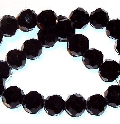 CRB132 Jet Black Obsidian 12mm Faceted Round Cut Crystal Glass Beads 28pc