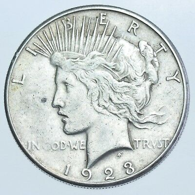 Usa United States Peace Dollar, 1923 Silver Coin Ef-45