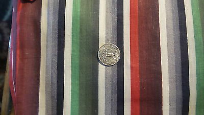 """Antique Cotton Fabric SHADES OF RED,GREEN,BLACK,WHITE STRIPE 25""""/36"""""""
