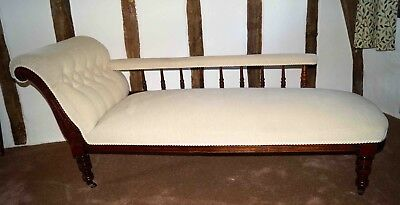 Antique Dark Oak Chaise Longue