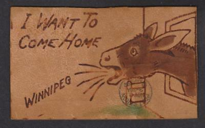 """1906 Leather Post Card """"I Want To Come Home"""""""