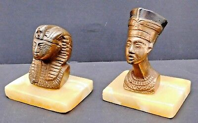 Bronzed Egyptian Pharoah KING TUT & NEFERTITI  Busts Masks Statues Set Lot of 2