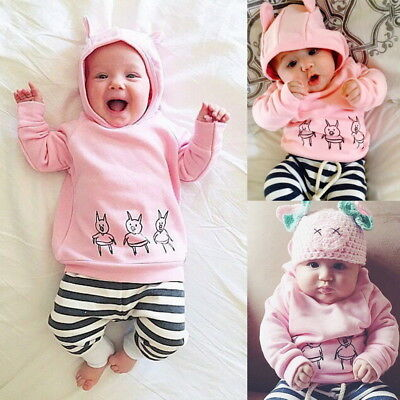2PCs Newborn Toddler Tracksuit Outfits Sets Baby Boys Girls Hooded Tops+Pants