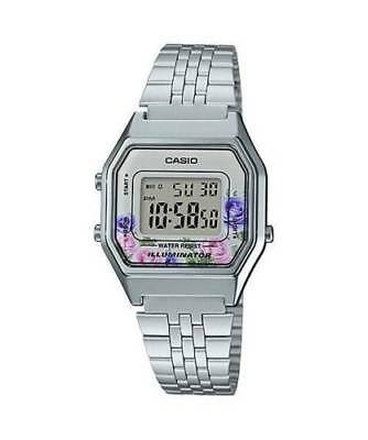 NEWEST Casio LA680WA-4C Women Mid-Size Silver Digital Retro Vintage Watch FLORAL