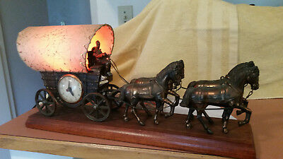 Vintage United Metal Goods Electric Motion Mantel Clock & Lamp Horse Drawn Wagon