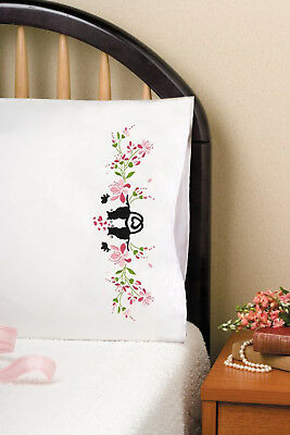 Stamped Embroidery ~ Tobin Cat Silhouette PILLOWCASE PAIR #T232158