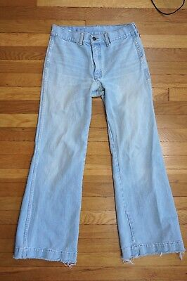 70s Vintage ~ Brittania High Waist Jeans ~ 31 L ~ Bell Bottoms Fade Repairs