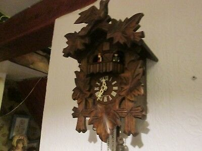 Old Vintage Twin Weight Wooden Musical Cuckoo Clock
