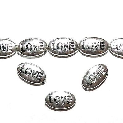 """MB7116 Antiqued Silver 10mm """"Love"""" Message Flat Oval Metal Spacer Beads 20pc"""