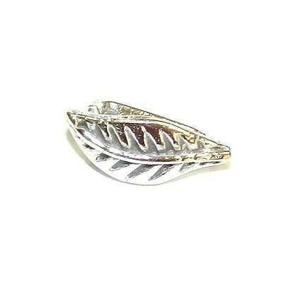 M638 Leaf .925 Sterling Silver 12mm Ice-Pick Pinch Prong Bail Connector 1pc