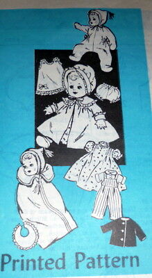 """GREAT VTG 1950s 10"""" BABY DOLL CLOTHING SEWING PATTERN"""