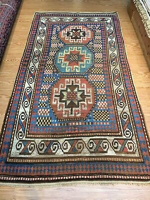 Antique Caucasian Moghan Kazak circa 1850's authentic vintage 4'x18' ft. 19th c.