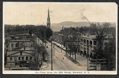 Norwich, New York, View From The HILL BLOCK, 1910 RPPC Postcard