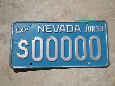 Nevada 1958 / 59 Sample License Plate  #  S00000