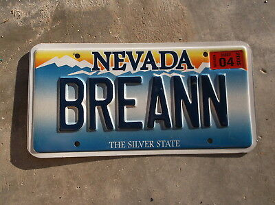 Nevada 2005 vanity License Plate pair #  BREANN