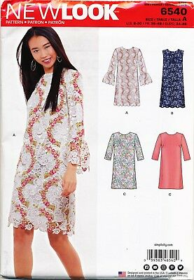 New Look Sewing Pattern 6540 Misses 8-20 Retro Inspired Shift Dress With Overlay