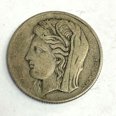 1930 Greece 10 Drachmai, Greek goddess Demeter (Ceres) silver coin, KM#72, Fine+