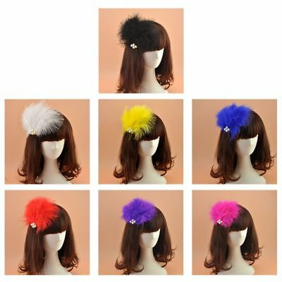 Women Small Felt Top Soft Feathers Fascinator Faux Pearl Hair Clip Wedding Party