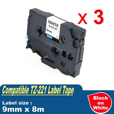3 x Compatible Label Tape for Brother TZ-221 P-touch Black on White 9mm TZe-221