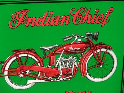 INDIAN CHIEF Power Plus American Motorcycle EARLY BIKE Really Shows Detail SIGN