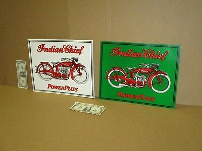 INDIAN CHIEF - Power Plus - *TWO SIGN SET for ONE BID - American Motorcycle BIKE