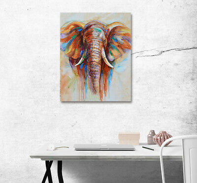 "16X20"" Colored Drawing Elephant Art Poster Print Home Wall Decor Canvas Painting"