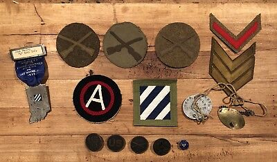 Lot: WW1 World War 1 30th Infantry Division D Patch Dog Tags Button Collar Disc