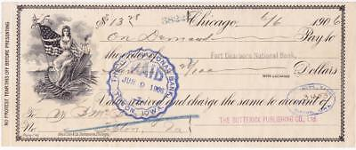 1906 Check to Ft. Dearborn National Bank from Butterick Publishing Nice Vignette