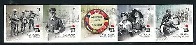 2018 Centenary of World War I - Strip of 5 Booklet Stamps