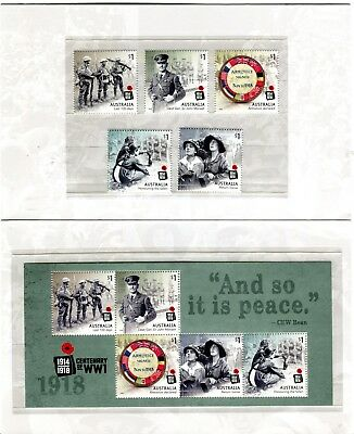 2018 Centenary of World War I Post Office Pack with Stamps & Mini Sheet