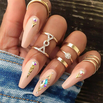 5Pcs/Set Crystal Women Gold Above Knuckle Fashion Finger Ring Band Midi Rings