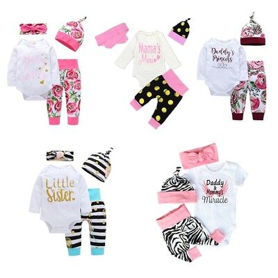 Newborn Baby Girl Boy Romper Tops Jumpsuit Pants Headband Outfit Clothes Set UK