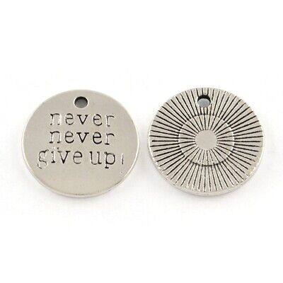 Never Never Give Up Charm/Pendant Tibetan Antique Silver 20mm  5 Charms Crafts