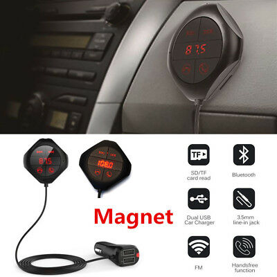 Bluetooth FM Transmitter MP3 Player Magnet KFZ Auto AUX Freisprechanlage 2 USB