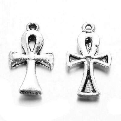 Egyptian Ankh Cross Charm/Pendant Tibetan Antique Silver 22mm  6 Charms Crafts