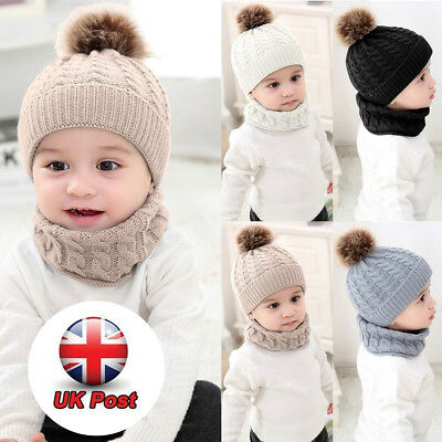 Newborn Kids Baby Boy Girl Fur Pom Hat Knit Bobble Beanie Cap&Scarf Winter Warm