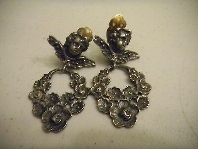Vintage Antique Sterling Silver Clip On Earrings Cherub Wings Floral Wreath