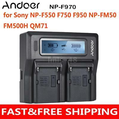Andoer NP-F970 2 Channel Camera Battery Charger with LCD Display EU J0L5