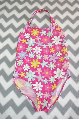 Girls Pink With Pretty Floral Print Halterneck Swimsuit ~ Age 13 - 14 Yrs